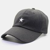 Men Cotton Embroidery Star Printing Solid Color Casual Outdoor Curve Brim Visor Adjustable Flat Hat Baseball Hat