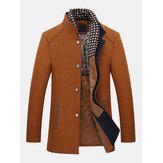 Мужская осенне-зимняя повседневная куртка с воротником-стойкой Тонкий, съемная стильная шерстяная куртка