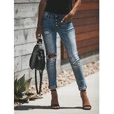 Femmes loisirs bouton évider déchiré travail quotidien jeans décontractés
