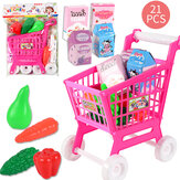 21Pcs/Set Toy Shopping Cart Pretend Supermarket Food Items Children Educational Play Toy for Ages 3 and Up