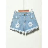 5 Warna Saku Wanita Berongga Ripped Denim Shorts