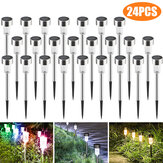 24 STKS LED Solar Gazon Path Light Rvs Waterdichte Tuin Landschap Lamp voor Thuis Street Decor