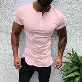 T-shirt da uomo a manica corta mezza aperta