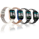 Bakeey M8 Full Touch Screen Music Control Dynamic HR Blood Pressure Oxygen Monitor Leather Band Smart Watch