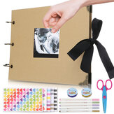 Scrapbook Photo Album with Black Page Memory Books A4 Craft Paper DIY Ring Binder Scrapbooking Photo Albums with 5 Metalic Marker Pens for Anniversary Birthday Friends Gift