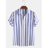 Mens Cotton Vertical Stripe Patch Pocket Breathable Short Sleeve Casual Shirts