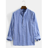 Mens Vertical Striped Stand Collar Cotton Casual Long Sleeve Henley Shirts