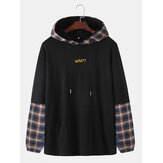 Herre Bomuld Letter Print Patchwork Plaid Casual Drawstring Hoodies