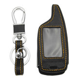 4 Buttons Two Way Car Alarm System Leather Car Key Case Bag For Magicar 5/6 LCD