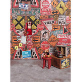 5x7FT Vinyl Graffiti Wall Phone Bear Photography Backdrop Background Studio Prop