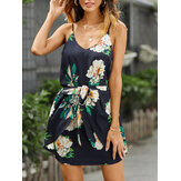Women Random Floral Print Sleeveless Stretch Waist Belted Mini Dress