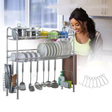 1/2 Layer Tier Stainless Steel Dish Drainer Cutlery Holder Rack Drip Tray Kitchen Tool For Single Sink