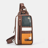 Men Retro Patchwork Earphone Hole Waterproof Outdoor Crossbody Bag Chest Bag Sling Bag