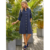 Kadın Izgara Standı Yaka Uzun Kollu Casual Gömlek Kol Sekmeleri ile Elbiseler