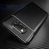 Bakeey para POCO X3 NFC Caso Fibra de carbono de lujo Patrón con Lente Protector a prueba de golpes Silicona Protector Caso No original