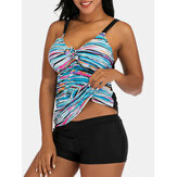 Plus Size Women Colorful Stripe Print Tie Front Wireless Strappy Tankinis Swimsuit