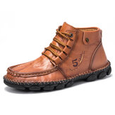 Men Cowhide Leather Hand Stitching Non Slip Soft Sole Ankle Boots