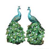 15x13x26cm Peacock Statue Decorative Home Office Decorazioni d'arte Desktop regalo