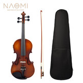 NAOMI 4/4 Acoustic EQ Electric Matte Violin Fiddle Kit With Bow+Case+Bridge