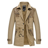 Thick Warm Plush Spliced PU Leather Loose Trench Coat