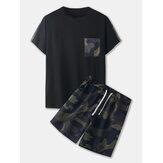 Ensembles à imprimé camouflage pour hommes Shorts à cordon de serrage à manches courtes Casual deux pièces