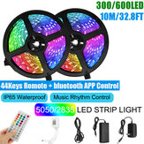 10M SMD5050/2835 RGB Smart LED Strip Light APP Control Music Waterproof Lamp 44 Keys Remote Control + Power Adapter Christmas Decorations Clearance Christmas Lights
