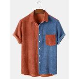 Mens tasca patchwork in velluto a coste larghe Soft Camicie casual traspiranti