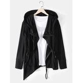 Herren Black Hooded Zip-Up Unregelmäßiger Saum Langarm Design Strickjacken mit Tasche