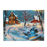 1 Piece LED Luminous Canvas Painting Winter Snow Cabin Deer Wall Decorative Art Picture Home Office Decoration