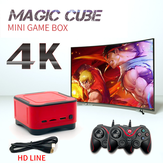 ANBERNIC 128 GB 4 K HD bluetooth 2.4G Mini Magic Kulübü Video Oyun Konsolu ile 2 Kablolu Gamepad Destek PS1 GBA NEOGEO FC Oyunları