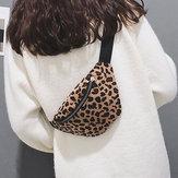 Women Plush Leopard Print Waist Bag Crossbody Bag