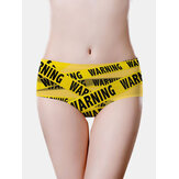 Women Funny Letter Print Middle Waisted Full Hip Breathable Seamless Panties