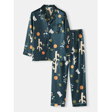 Mens Polka Dot Plant Print Loose Fit Long Sleeve Revere Collar Home Lounge Pajamas With Pocket