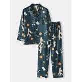 Erkek Polka Dot Bitki Baskı Gevşek Fit Uzun Kollu Revere Yaka Cepli Ev Lounge Pijama