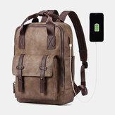男性多機能USB充電バッグソリッド大容量バックパック