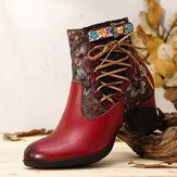 SOCOFY Elegant Floral Splicing Warm Lined Zipper Chunky Heel Chelsea Boots