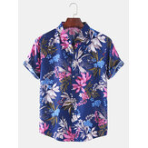 Mens Tropical Plant Leaves Print Short Sleeve Holiday Designer Shirts
