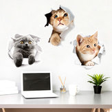 Miico Creativo 3D Cute Cat Broken Wall PVC rimovibile Home Room decorativo porta a muro Car Mirror Decor Sticker