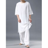 Lightweight Plain Cozy Loose Linen Set O Neck Breathable Home Co-ords for Men