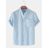 Design Stripe Stand Collar Short Sleeve Cotton Breathable Shirts With Pocket