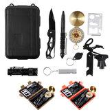 Zestaw ratunkowy 8 w 1 zestaw pierwszej pomocy kieszonkowa latarka długopis taktyczny kompasy nóż gwizdek otwieracz SOS awaryjne materiały na zewnątrz kemping podróż