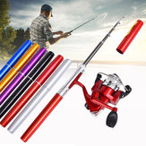 LEO Mini Fishing Rod Reel Combo Fiberglas Aluminium Fiskeri Reel 5.1: 1 Portable Hunting Fishing Tools