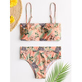 Hawaii Style Women Tropical Plant Print Adjustable Straps Summer Bikini