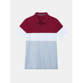 Mens New Color Matching Casual Fashion Cotton Short Sleeved Golf Camisa