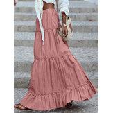 女性用コットンプリーツフリルソリッドホリデーエラスティックワイスマキシスカート