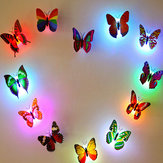 Miico Colors Changing LED Lampeggiante Butterfly Night Light Decorative Lights 3D Home Decor adesivi