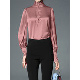 Women Lantern Sleeve Collar Button Design Elegance Blouse