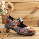 SOCOFY Retro Geprägte Blume Spleißen Floral Echtleder Flache Schuhe