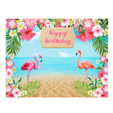 150x100 cm 220X150 cm fleurs flamant rose mer sable plage vinyle décors Studio fond joyeux anniversaire fête décoration