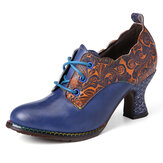 SOCOFY - Escarpins à talons épais avec couture florale à lacets sur le côté